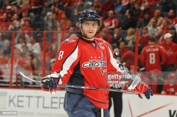 Alex Ovechkin of the Washington Capitals looks on during a NHL hockey game against the Atlanta Thrashers on February 5 2010 at the Verizon Center in...