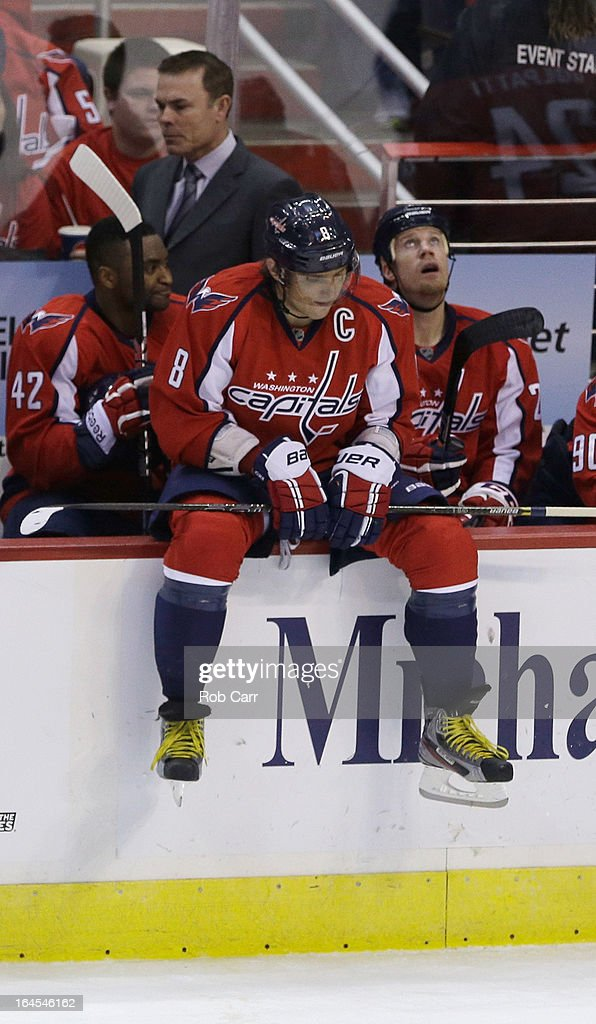 Alex Ovechkin #8 of the Washington Capitals looks on during a time out against the New York Rangers at Verizon Center on March 10, 2013 in Washington, DC.