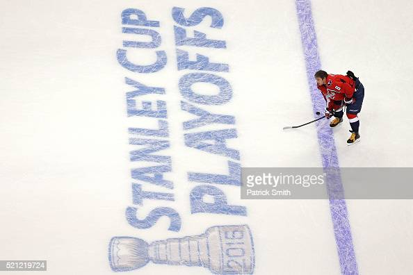 Alex Ovechkin of the Washington Capitals looks on during warmups before playing the Philadelphia Flyers in Game One of the Eastern Conference...