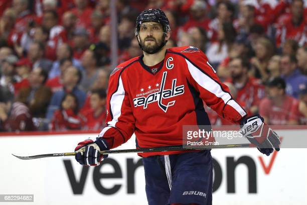 Alex Ovechkin of the Washington Capitals looks on in the first period against the Pittsburgh Penguins in Game Seven of the Eastern Conference Second...