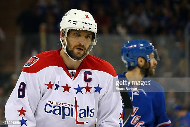 Alex Ovechkin of the Washington Capitals looks on in the third period against the New York Rangers in Game Seven of the Eastern Conference Semifinals...