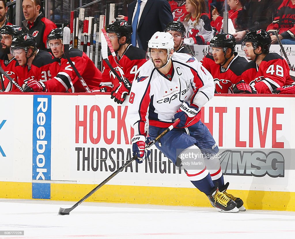 Alex Ovechkin #8 of the Washington Capitals plays the puck during the game against the New Jersey Devils at the Prudential Center on February 6, 2016 in Newark, New Jersey.