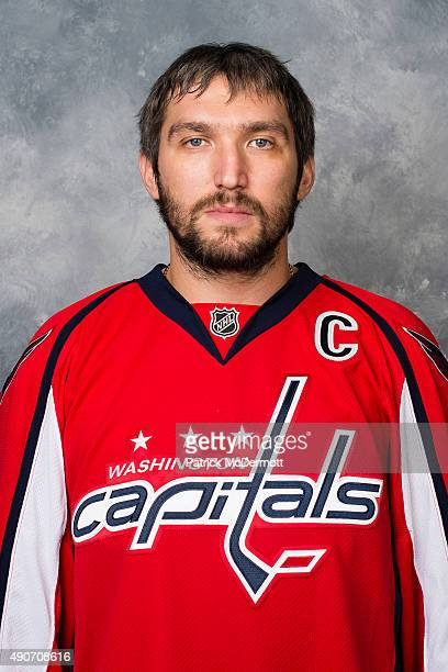 Alex Ovechkin of the Washington Capitals poses for his official headshot for the 20152016 season on September 17 2015 at Kettler Capitals Iceplex in...