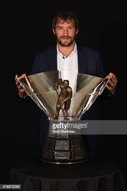 Alex Ovechkin of the Washington Capitals poses with the Maurice Rocket Richard trophy during the 2015 NHL Awards at the MGM Grand Garden Arena on...