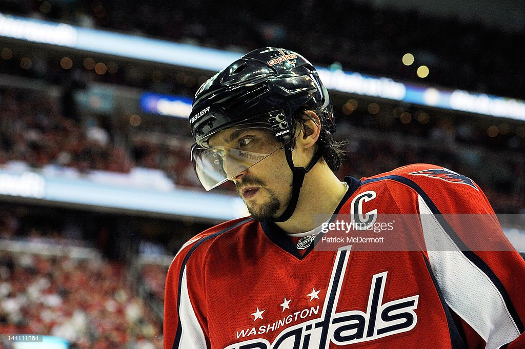Alex Ovechkin #8 of the Washington Capitals reacts after a play against the New York Rangers in Game Six of the Eastern Conference Semifinals during the 2012 NHL Stanley Cup Playoffs at Verizon Center on May 9, 2012 in Washington, DC.