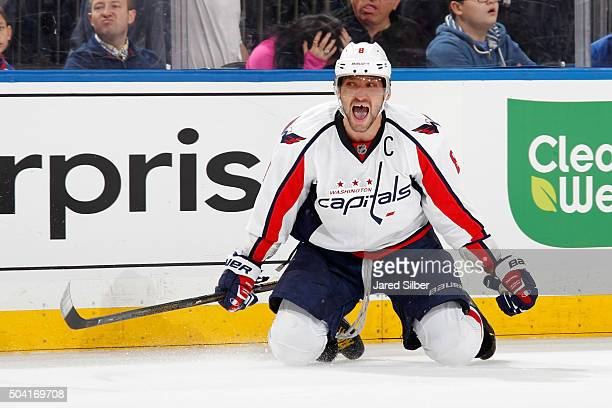 Alex Ovechkin of the Washington Capitals reacts after scoring the game winning goal in overtime against the New York Rangers at Madison Square Garden...
