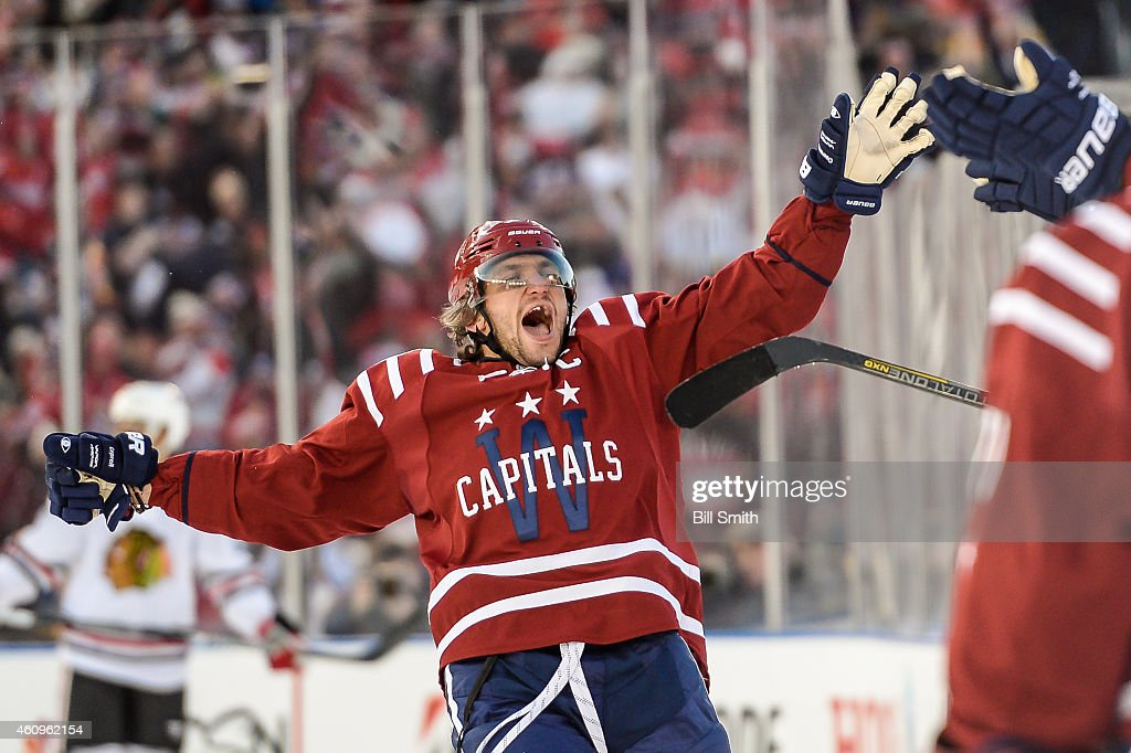 Alex Ovechkin #8 of the Washington Capitals reacts after Troy Brouwer #20 (not pictured) scored the game winning goal against the Chicago Blackhawks during the 2015 Bridgestone NHL Winter Classic on January 1, 2015 in Washington, DC.