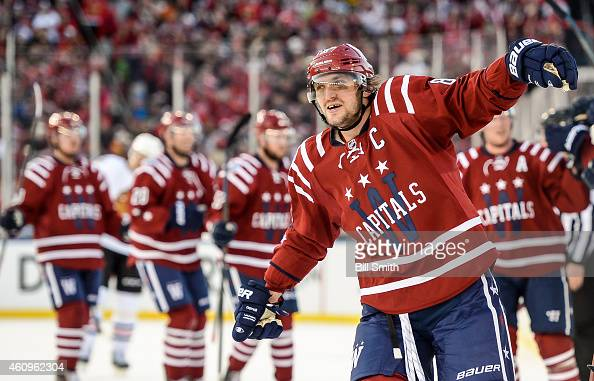 Alex Ovechkin of the Washington Capitals reacts after Troy Brouwer scored the game winning goal against the Chicago Blackhawks during the 2015...