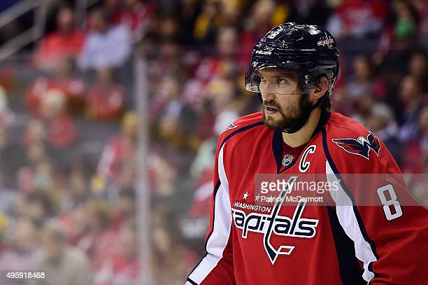 Alex Ovechkin of the Washington Capitals reacts during a stopage in play in the second period during an NHL game against the Boston Bruins at Verizon...
