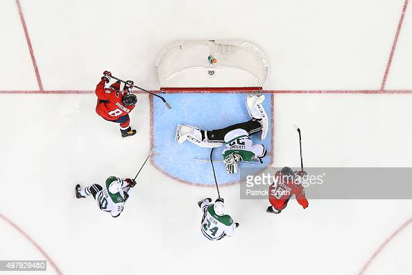 Alex Ovechkin of the Washington Capitals scores a third period goal on goalie Kari Lehtonen of the Dallas Stars at Verizon Center on November 19 2015...