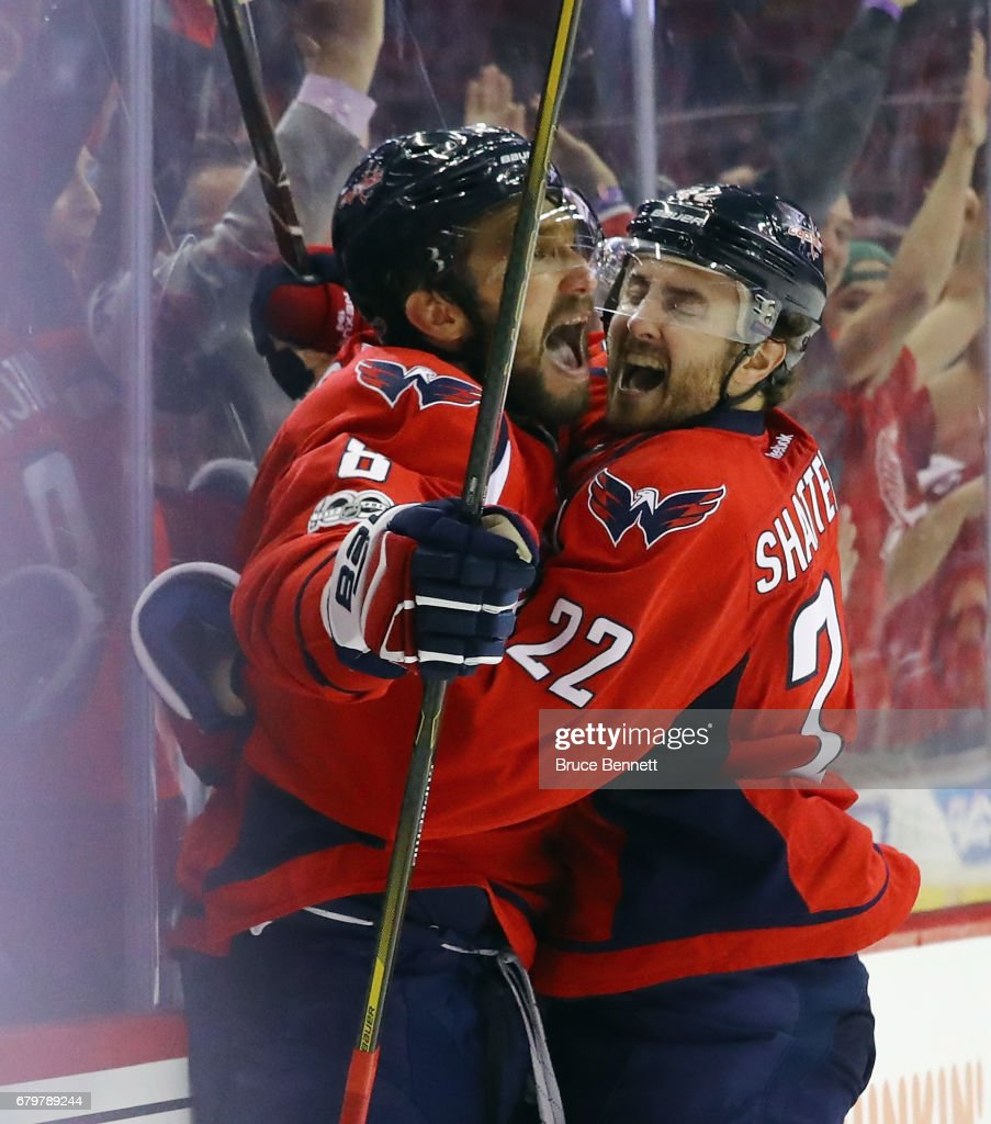 Alex Ovechkin #8 of the Washington Capitals scores at 7:47 of the third period against the Pittsburgh Penguins and is embraced by Kevin Shattenkirk #22 in Game Five of the Eastern Conference Second Round during the 2017 NHL Stanley Cup Playoffs at the Verizon Center on May 6, 2017 in Washington, DC.