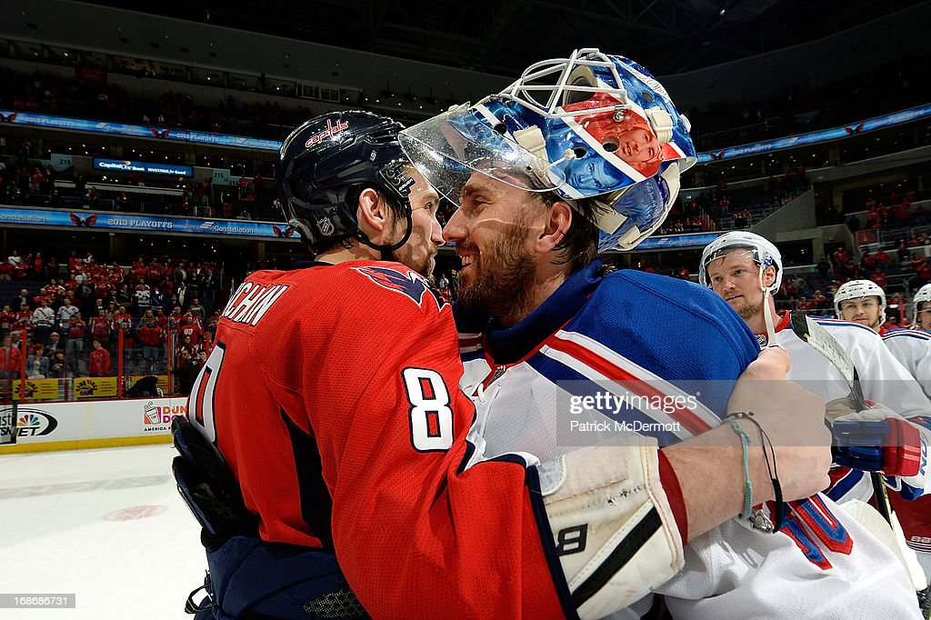 Alex Ovechkin #8 of the Washington Capitals shakes hands with <a gi-track='captionPersonalityLinkClicked' href=/galleries/search?phrase=Henrik+Lundqvist&family=editorial&specificpeople=217958 ng-click='$event.stopPropagation()'>Henrik Lundqvist</a> #30 of the New York Rangers after Game Seven of the Eastern Conference Quarterfinals during the 2013 NHL Stanley Cup Playoffs, the Rangers defeated the Capitals 5-0, at Verizon Center on May 13, 2013 in Washington, DC.