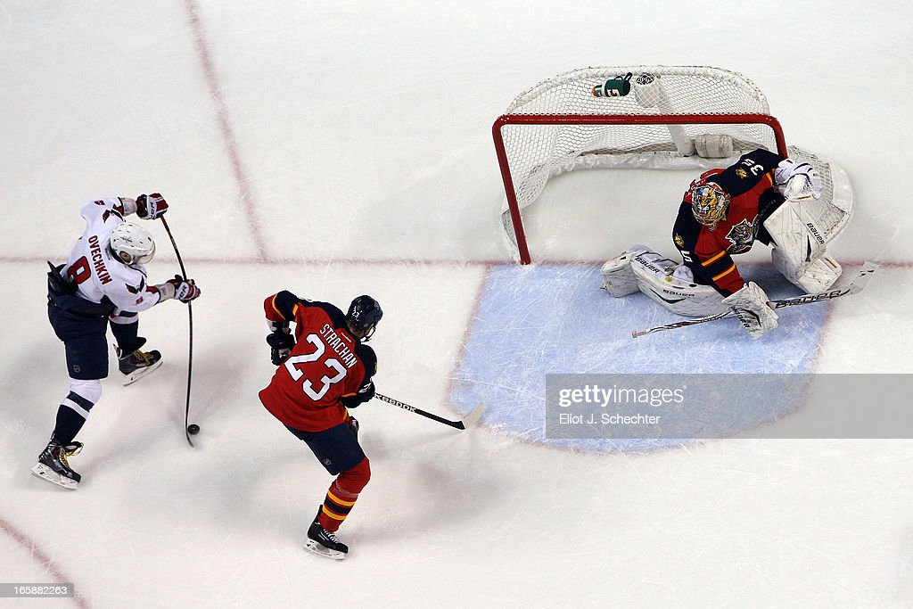 Alex Ovechkin #8 of the Washington Capitals shoots and scores against Goaltenter <a gi-track='captionPersonalityLinkClicked' href=/galleries/search?phrase=Jacob+Markstrom&family=editorial&specificpeople=5370948 ng-click='$event.stopPropagation()'>Jacob Markstrom</a> #35 Florida Panthers Panthers at the BB&T Center on April 6, 2013 in Sunrise, Florida.