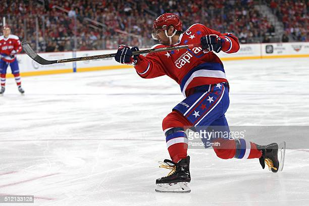 Alex Ovechkin of the Washington Capitals shoots in the second period against the Montreal Canadiens at Verizon Center on February 24 2016 in...