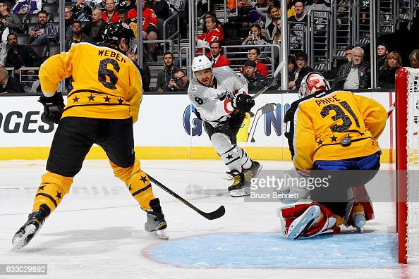 Alex Ovechkin of the Washington Capitals shoots the puck against Carey Price of the Montreal Canadiens during the 2017 Honda NHL AllStar Game...