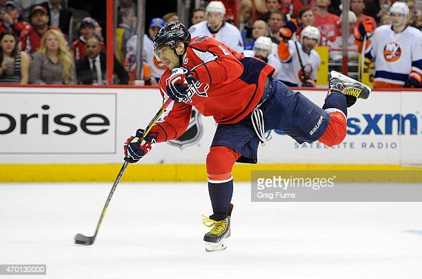 Alex Ovechkin of the Washington Capitals shoots the puck in the first period against the New York Islanders during Game Two of the Eastern Conference...