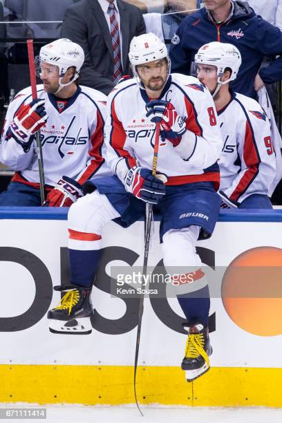 Alex Ovechkin of the Washington Capitals sits on the boards during a video review called by the Toronto Maple Leafs during the first period in Game...