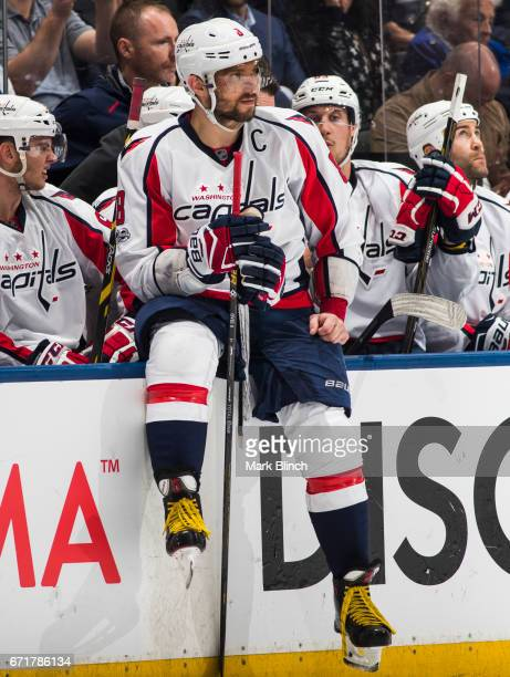Alex Ovechkin of the Washington Capitals sits on the boards in a break against the Toronto Maple Leafs during the third period in Game Four of the...