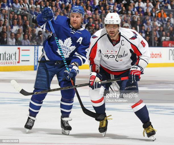 Alex Ovechkin of the Washington Capitals skates against Leo Komarov of the Toronto Maple Leafs in Game Three of the Eastern Conference Quarterfinals...