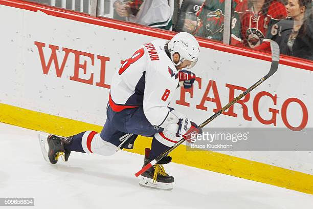 Alex Ovechkin of the Washington Capitals skates against the Washington Capitals during the game on February 11 2016 at the Xcel Energy Center in St...