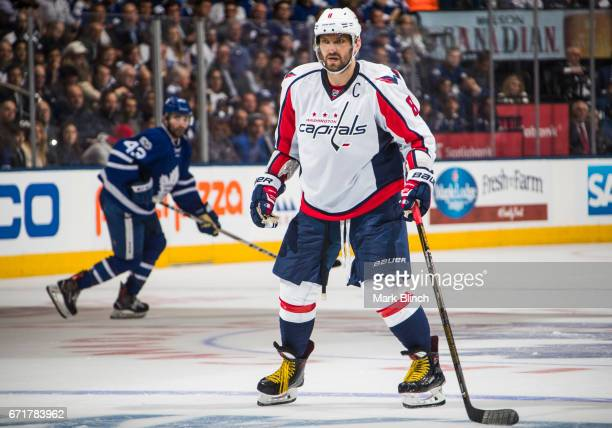 Alex Ovechkin of the Washington Capitals skates against the Washington Capitals during the second period in Game Four of the Eastern Conference First...