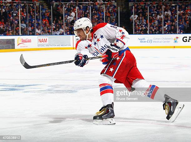 Alex Ovechkin of the Washington Capitals skates against the New York Islanders in Game Three of the Eastern Conference Quarterfinals during the 2015...