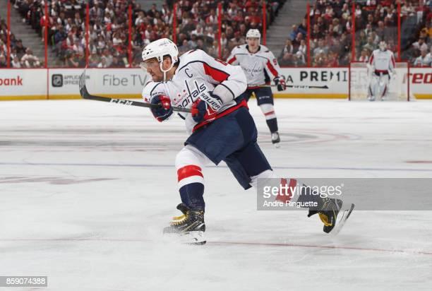 Alex Ovechkin of the Washington Capitals skates against the Ottawa Senators at Canadian Tire Centre on October 5 2017 in Ottawa Ontario Canada