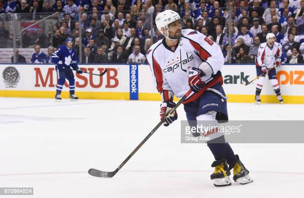 Alex Ovechkin of the Washington Capitals skates against the Toronto Maple Leafs during the first period in Game Three of the Eastern Conference First...