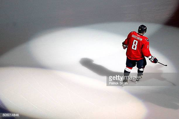 Alex Ovechkin of the Washington Capitals skates before playing the Vancouver Canucks at Verizon Center on January 14 2016 in Washington DC
