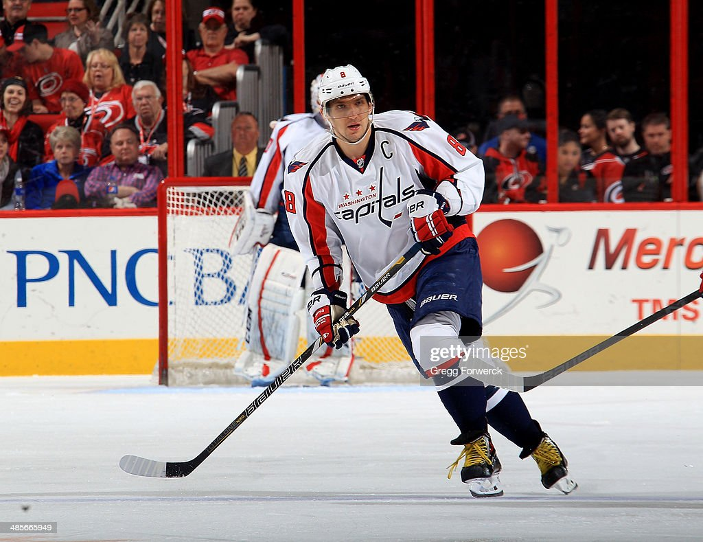 Alex Ovechkin #8 of the Washington Capitals skates for position on the ice during their NHL game against the Carolina Hurricanes at PNC Arena on April 10, 2014 in Raleigh, North Carolina.