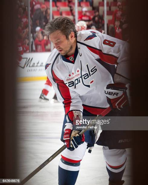 Alex Ovechkin of the Washington Capitals skates in warmups prior to an NHL game against the Detroit Red Wings at Joe Louis Arena on February 18 2017...