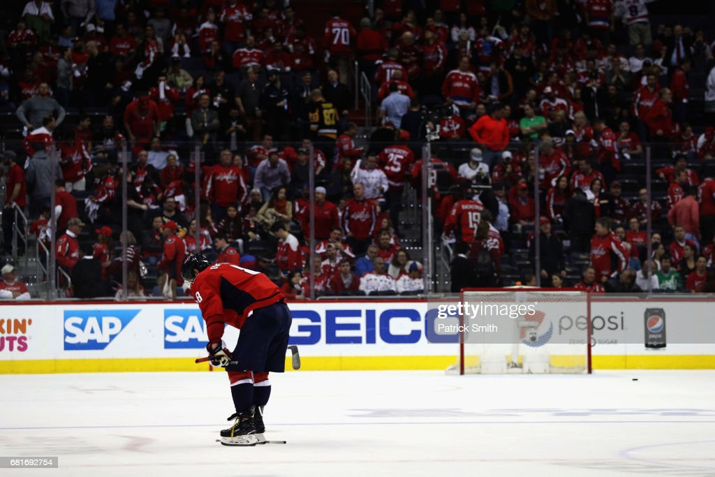 Alex Ovechkin #8 of the Washington Capitals skates off the ice following the Capitals 2-0 loss to the Pittsburgh Penguins in Game Seven of the Eastern Conference Second Round during the 2017 NHL Stanley Cup Playoffs at Verizon Center on May 10, 2017 in Washington, DC.
