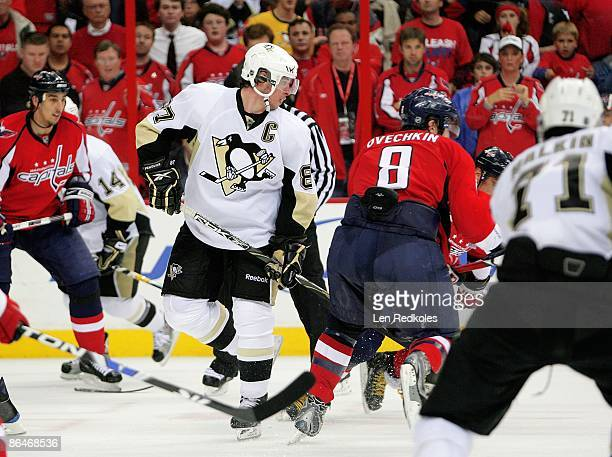 Alex Ovechkin of the Washington Capitals skates past Sidney Crosby of the Pittsburgh Penguins during Game Two of the Eastern Conference Semifinal...