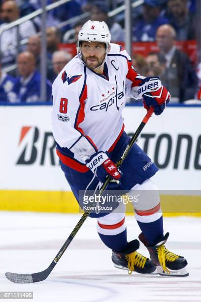 Alex Ovechkin of the Washington Capitals skates without the puck against the Toronto Maple Leafs during the third period in Game Four of the Eastern...