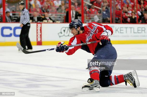 Alex Ovechkin of the Washington Capitals takes a slap shot against the Pittsburgh Penguins during Game Two of the Eastern Conference Semifinal Round...