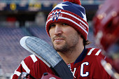 Alex Ovechkin of the Washington Capitals waits to take the ice during practice day prior to the 2015 Bridgestone NHL Winter Classic on December 31...