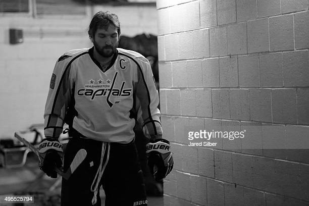 Alex Ovechkin of the Washington Capitals walks down the tunnel prior to pre game warmups before his team takes on the New York Rangers at Madison...