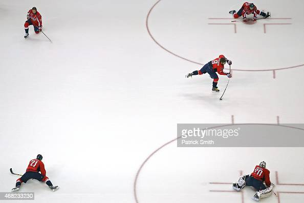 Alex Ovechkin of the Washington Capitals warms up before playing the Carolina Hurricanes at Verizon Center on March 31 2015 in Washington DC