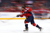 Alex Ovechkin of the Washington Capitals warms up before playing against the New Jersey Devils at Verizon Center on October 10 2015 in Washington DC