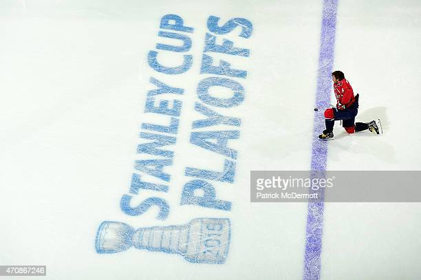 Alex Ovechkin of the Washington Capitals warms up prior to playing against the New York Islanders in Game Five of the Eastern Conference...