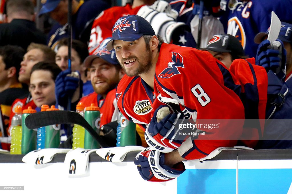 Alex Ovechkin #8 of the Washington Capitals watches the Bridgestone NHL Fastest Skater event during the 2017 Coors Light NHL All-Star Skills Competition as part of the 2017 NHL All-Star Weekend at STAPLES Center on January 28, 2017 in Los Angeles, California.
