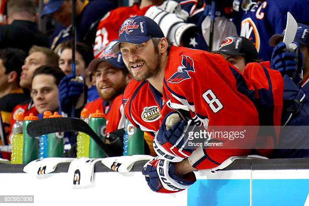 Alex Ovechkin of the Washington Capitals watches the Bridgestone NHL Fastest Skater event during the 2017 Coors Light NHL AllStar Skills Competition...