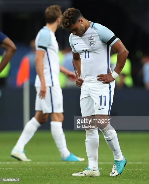 Alex OxladeChamberlai of England reacts at full time during the international Friendly match between France and England at Stade de France on June 13...
