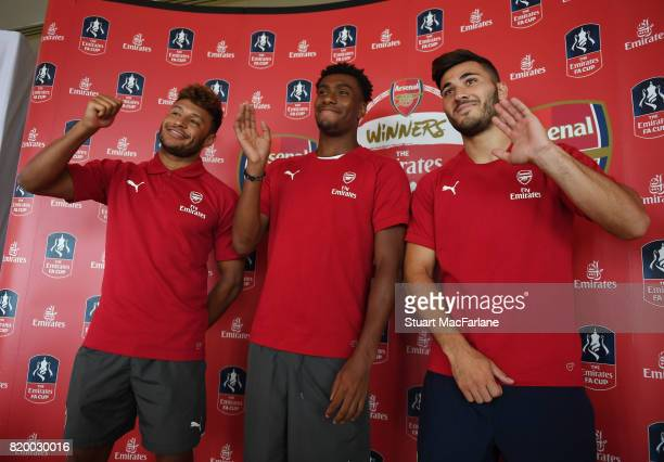 Alex OxladeChamberlain Alex Iwobi and Sead Kolasinac of Arsenal takes part in a chinese cooking event for Emirates on July 21 2017 in Beijing China