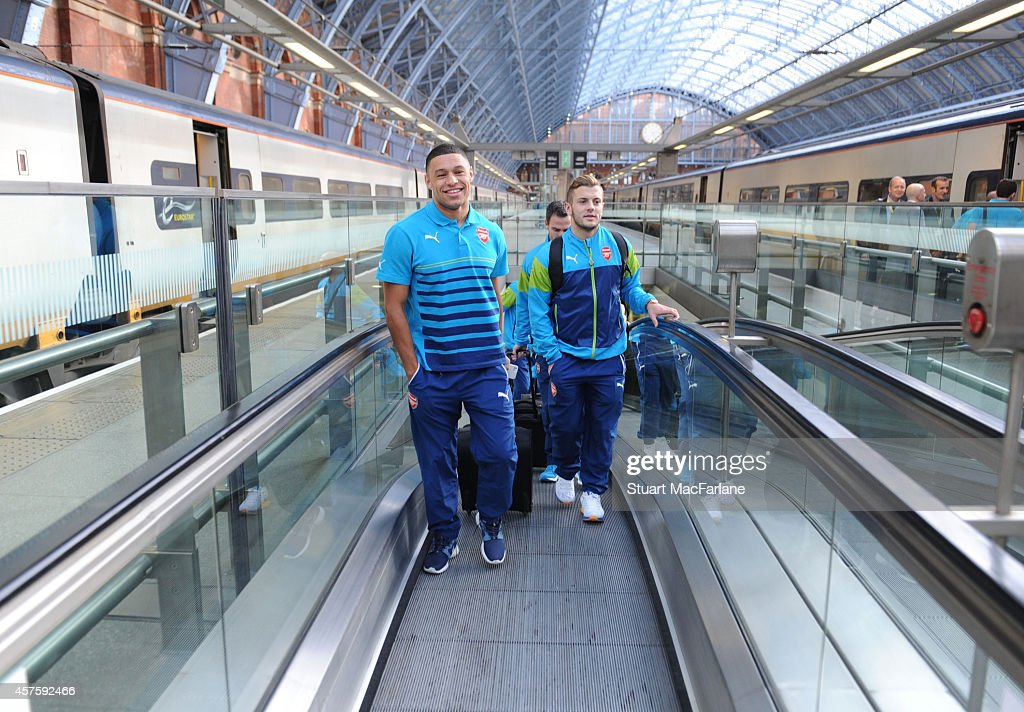 Alex OxladeChamberlain and Jack Wilshere at St Pancras Station as they set of for Brussels ahead of their UEFA Champions League match against RSC...