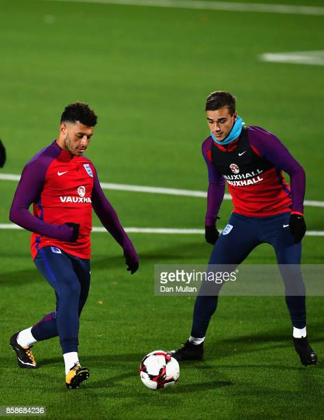 Alex OxladeChamberlain and Jake Livermore during an England Training Session at The LFF Stadium in Vilnius at a Media Access day on October 7 2017 in...