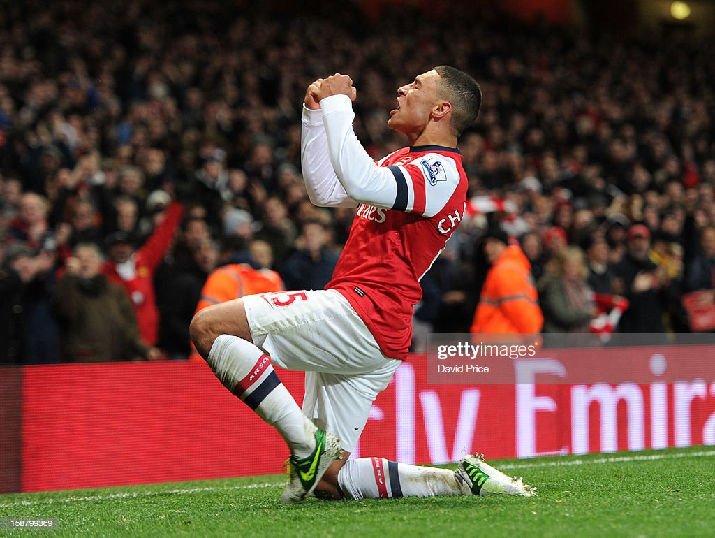 Alex Oxlade-Chamberlain celebrates scoring a goal for Arsenal during the Barclays Premier League match between Arsenal and Newcastle United at Emirates Stadium on December 29, 2012 in London, England.
