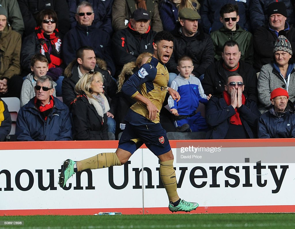 <a gi-track='captionPersonalityLinkClicked' href=/galleries/search?phrase=Alex+Oxlade-Chamberlain&family=editorial&specificpeople=7191518 ng-click='$event.stopPropagation()'>Alex Oxlade-Chamberlain</a> celebrates scoring Arsenal's 2nd goal during the Barclays Premier League match between AFC Bournemouth and Arsenal at The Vitality Stadium, Bournemouth 7th February 2016.