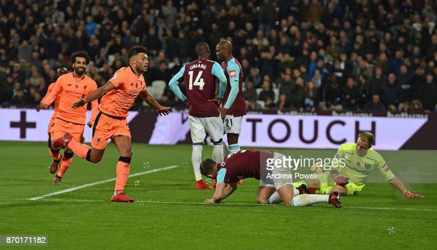 Alex OxladeChamberlain Celebrates the third goal of Liverpool during the Premier League match between West Ham United and Liverpool at London Stadium...