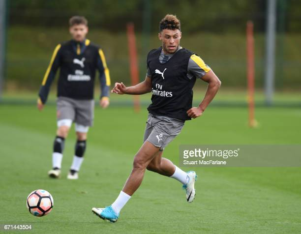 Alex OxladeChamberlain during a training session at London Colney on April 22 2017 in St Albans England
